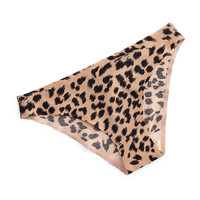 Stella Smooth Animal-Print Bikini Briefs, Leopard, Size: