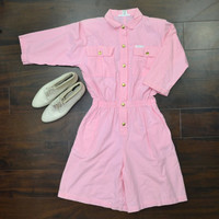 Romper Pink Romper Jumper 80s Pink Romper Shorts Playsuit by Images Size Medium