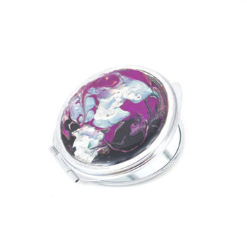 Compact Makeup Mirror Beautiful Plum Black Silver Blue/Green Painted Enamels with Resin Coating