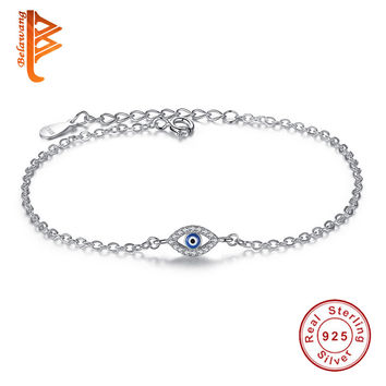 Luxury 925 Sterling Silver Woman Bracelets CZ Crystal Charms Bracelet Blue Enamel Evil Eye Beads Bracelet for Women Jewelry