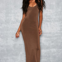 'Plexi' Deep Mocha Backless Maxi Dress - Mistress Rocks