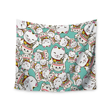 "Juan Paolo ""Ramen Cats"" Teal White Wall Tapestry"