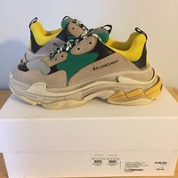 Balenciaga Trainer Sneakers Triple S US 10 EU 43 Men New Grey Speed Green Yellow