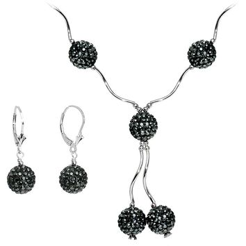 Sterling Silver Jet Crystal Ball Drop Necklace and Earring Set 3745a0ccf