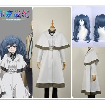 Tokyo Ghoul:re Yonebayashi Saiko Cosplay Costume Custom Jacket Black Pants Blue Curly Hair Wig Pigtail Sashes Tie-Bow