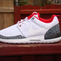Elephant Print Air Jordan White Cement black Gray Red Roshes