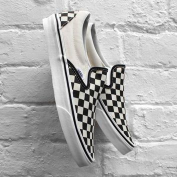 VANS Chessboard Black White Fashion Slip Sneakers F