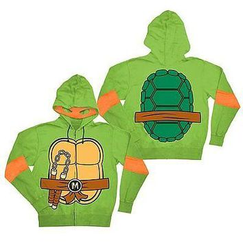 Teenage Mutant Ninja Turtles Michelangelo Green Zip Up Hoodie With Mask