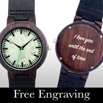 Wooden Watch, Engraved Watch, Wood Watch, Engraved Wood Watch, Green Face, Personalized Gift, Gifts For Him, Christmas