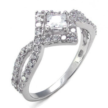 Sterling Silver .50 carat Princess Cut and Round Cut CZ Diamond Engagement Ring Size 5-9