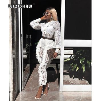 dbf5258d3e Leezeshaw White Lace Lantern Sleeve Jumpsuits for Women Sexy She