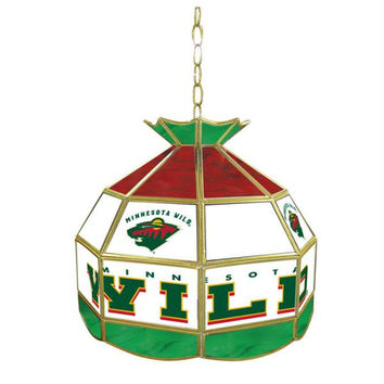 NHL Minnesota Wild Stained Glass Tiffany Lamp - 16 inch diam