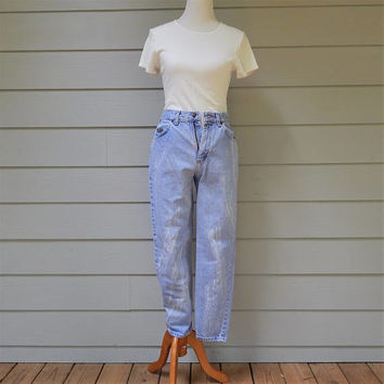Vintage High Waist Jeans, Paint Brush Bleached, Riders, Size 7/8 Short