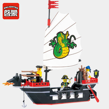Enlighten 301 Pirate Ship Blocks 211pcs Bricks Building Blocks Set Dragon Boat Model Minifigures Educational Toys For Children