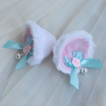 Kitten play clip on cat ears with bells ribbon bows - neko lolita cosplay costume - kitten play gear accessories - white blue and pink