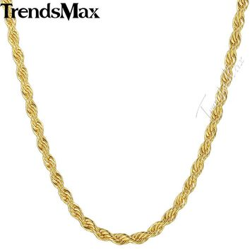 Trendsmax Twisted Rope Link Necklace Womens Mens Long Chain Yellow Gold-color 2.5/3.5mm KGN435-GN436