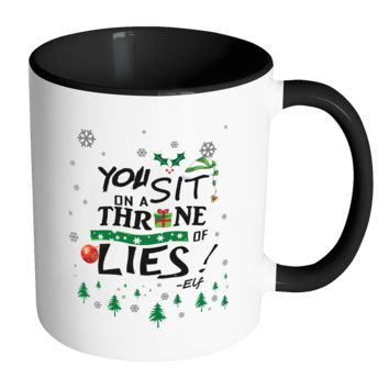 You Sit On A Throne Of Lies Buddy The Elf Funny Ugly Christmas Sweater 11oz Accent Coffee Mug (7 Colors)