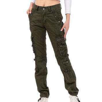 New Women's cotton Cargo Trousers Pocket Hiking fashion plus size unique Army Green trousers korea style pants