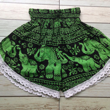High waisted Lace Shorts Elephants Boho Print Summer Chic Fashion Trim Tribal Aztec Ethnic Clothing Bohemian Ikat Clothes Hobo Beach Green