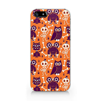 N-534 Halloween pattern with cat and frame for iPhone 4/5/5C/6 case, Samsung galaxy S4/S5/Note3 case