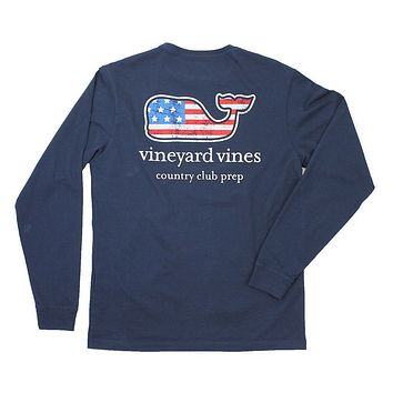 Flag Whale Country Club Prep Long Sleeve Tee in Blue Blazer by Vineyard Vines