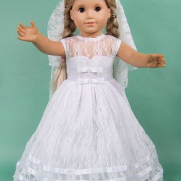 18-inch American girl dolls clothes manually white wedding dresses children Christmas gift free shipping  P01