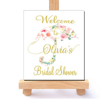 Custom Welcome Bridal Shower Sign Umbrella Personalized Bridal shower printable Watercolor Pink Gold Flowers Digital Floral Bridal Shower
