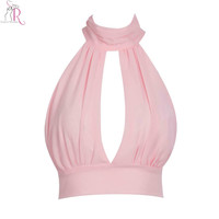 5 Colors High Neck Halter Lace Crop Top Bralette Vest Sexy Slit Front Tied Back Beachwear Clubwear 2016 Summer Women Clothing