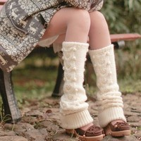 Cream Wool Dotted Knitted Legwarmers Ready to Ship by OurSunshine