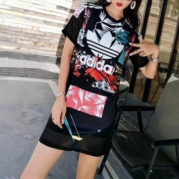 """Adidas"" Women Fashion Multicolor Letter Print Short Sleeve Middle Long Section T-shirt Gauze Mini Dress"