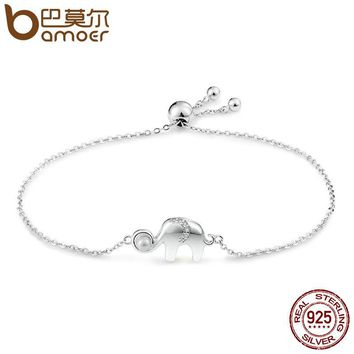925 Sterling Silver Cute Elephant Lace up Chain Link Bracelet for Women Sterling Silver Jewelry Gift SCB027