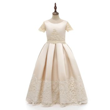 Flower Girl Dresses Kid Special Occasion Dress for Wedding Lace Party Dress Short Sleeves Flower Girl Dress