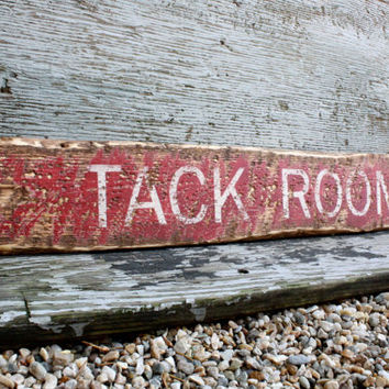"Equestrian Tack Room Rustic Distressed 36"" Directional Arrow Wood Sign"