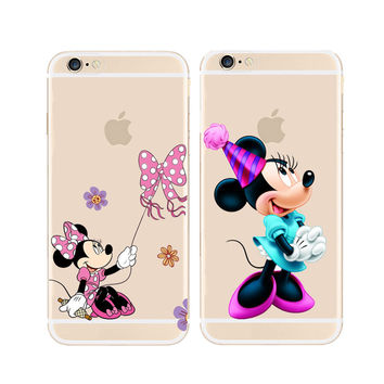 Mickey Mouse Protective Cover Case For Apple iPhone 4 4S 5 5S 5C 6 6S 6 Plus Luxury Transparent Cases Cute Minnie