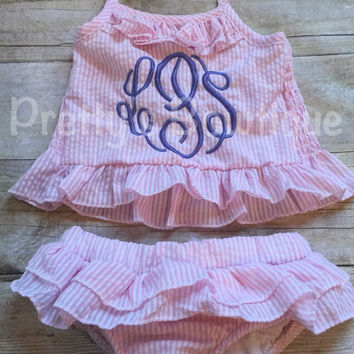 Girls Monogrammed Swimsuit -- Seersucker Bikini- Ruffled Baby Swimsuit --2 pc Girls- Monogrammed Bathing Suit-- 12M through 5/6
