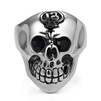 Stainless Steel Gothic Skull with Black Crystal Eye Ring