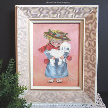 Vintage Oil Painting, Hand Painted, Little Girl with Lamb, Cute Retro Decor