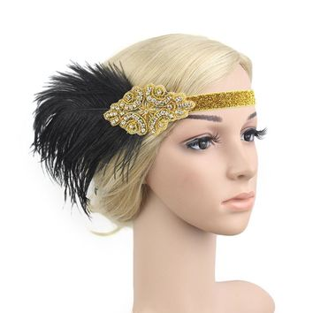 KMVEXO Indian Style Black Feather Crystal Beaded Flapper Headpiece Wedding Bridal Hair Accessories Great Gatsby Headband Jewelry
