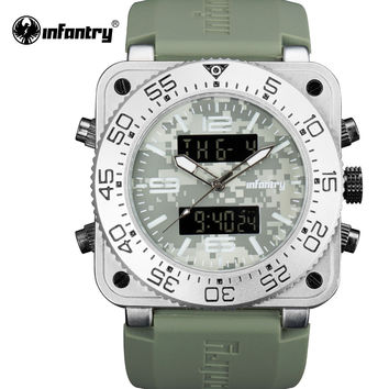 Men Watches Chronograph Back Light Dual Time Digital Watches Square Dial Mens Rubber Wristwatches