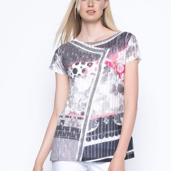 Picadilly Custom Print Top in Coral Multi