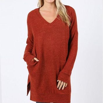Cozy V-Neck Long Pocket Sweater - 3 Colors!
