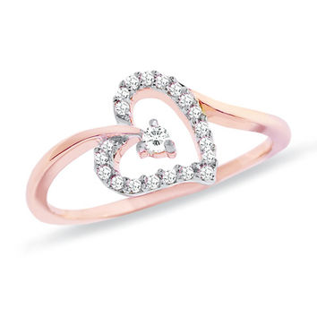 1/7 CT. T.W. Diamond Heart Ring in 10K Rose Gold