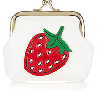 Teens White Strawberry Coin Purse