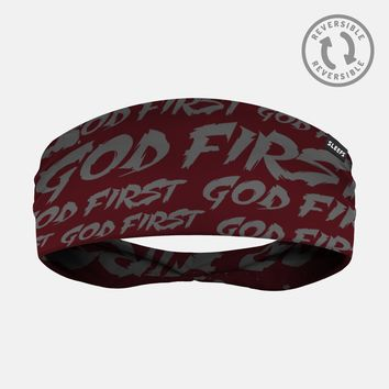 God First Maroon Gray Headband