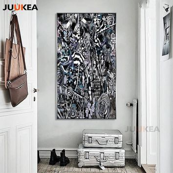 Modern Black White Graffiti Style Abstract Canvas Print Painting Poster Artist Cool Wall Art Wall Pictures Large Size Home Decor