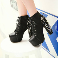Lace Up Studded Spiked Heel Ankle Boots