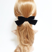 Handmade Silk Velvet Hair Bow Collection Claw Clip French Barrette Series Black Bow Hair Accessories