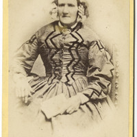 Cabinet Card Photo Victorian Old Woman in Striking Zig-Zag Striped Dress Portrait - Liverpool England - Antique Photograph