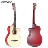 "Red and Beige Ammoon 38"" 6-String Cutaway Folk Acoustic Guitar with Bag"