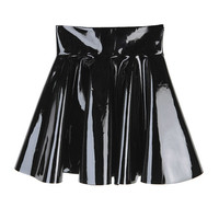High Waist Glossy Flare Skirt